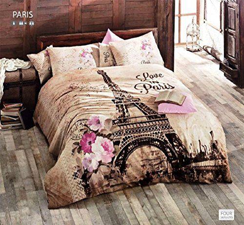 100% Turkish Cotton 4 Pcs!! Ranforce Paris Eiffel Tower Theme ... : eiffel tower quilt cover - Adamdwight.com