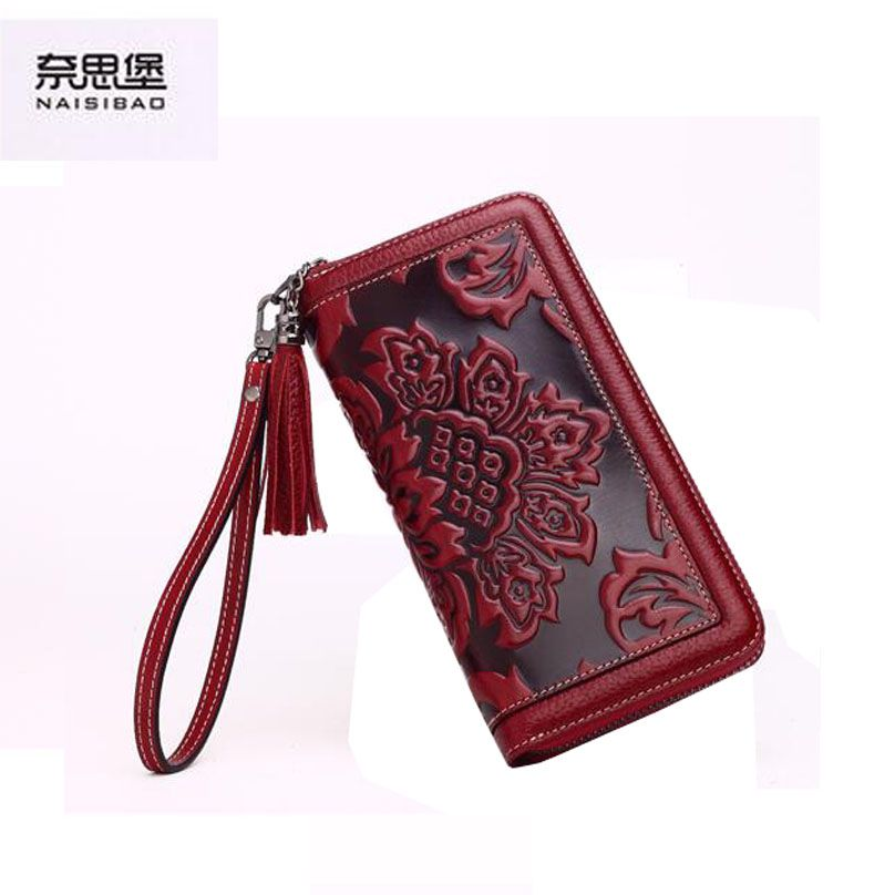 $126.00 (Buy here: http://appdeal.ru/fffq ) 2016 New Women genuine leather wallet brands fashion chinese style embossing purse quality leather clutch bag women wallets for just $126.00