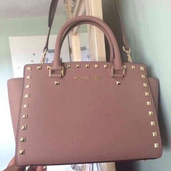 1632673eb787 Michael Kors Medium Dusty Rose Studded Selma Brand new with tags! Pristine  retail shelf condition