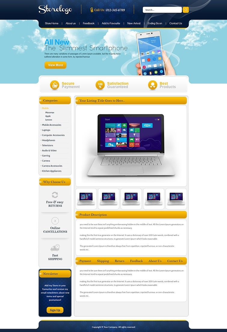 Auction Website Template Smart Store Design & Professional Ebay Listing Template With