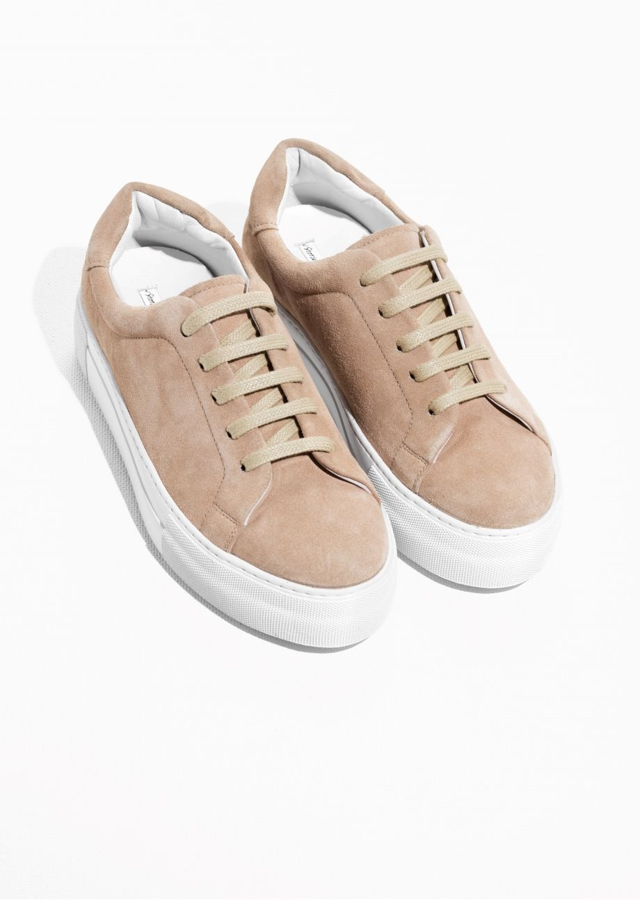 & Other Stories image 2 of Suede Platform Sneakers in Beige