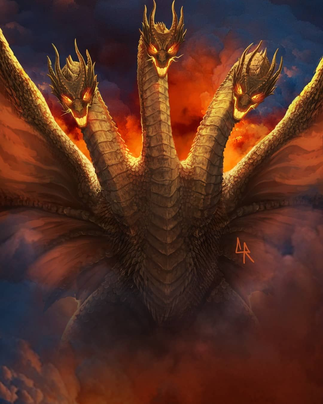 Kevin Chapman On Instagram Here Is A King Ghidorah Painting That Will Be Apart Of My Godzilla Kotm Poster For A Godzilla Mythical Monsters Godzilla Wallpaper