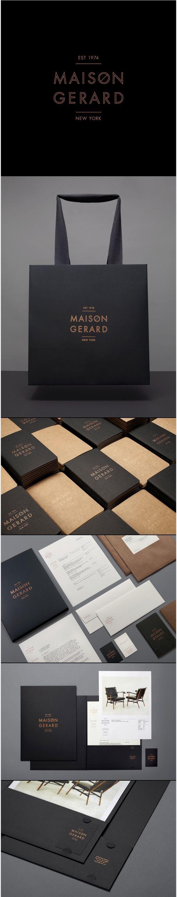 Branding Identite Graphique Cool Noir Or Carte De Visite Sac Commercial Maison Gerard