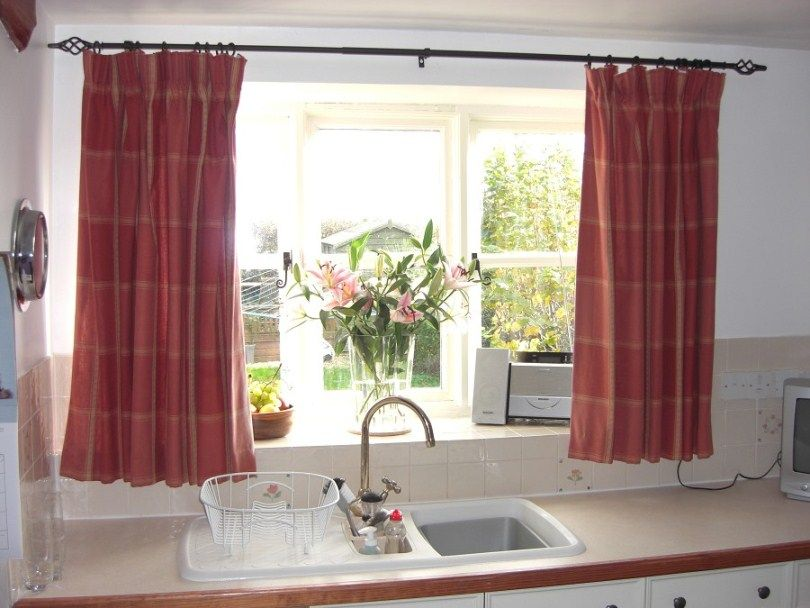 Kitchen Bay Window Over Sink With Kitchen Window Curtains And Curtain Rods Plus With Window Plan Kitchen Window Curtains Cottage Curtains Contemporary Curtains