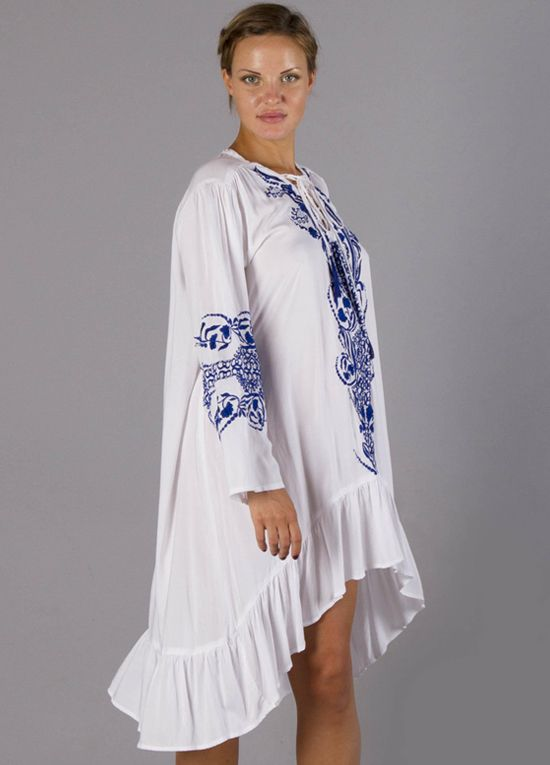 4a2e040b65a Queen Bee Papinelle Embroidered Maternity Dress in White Blue by Fillyboo