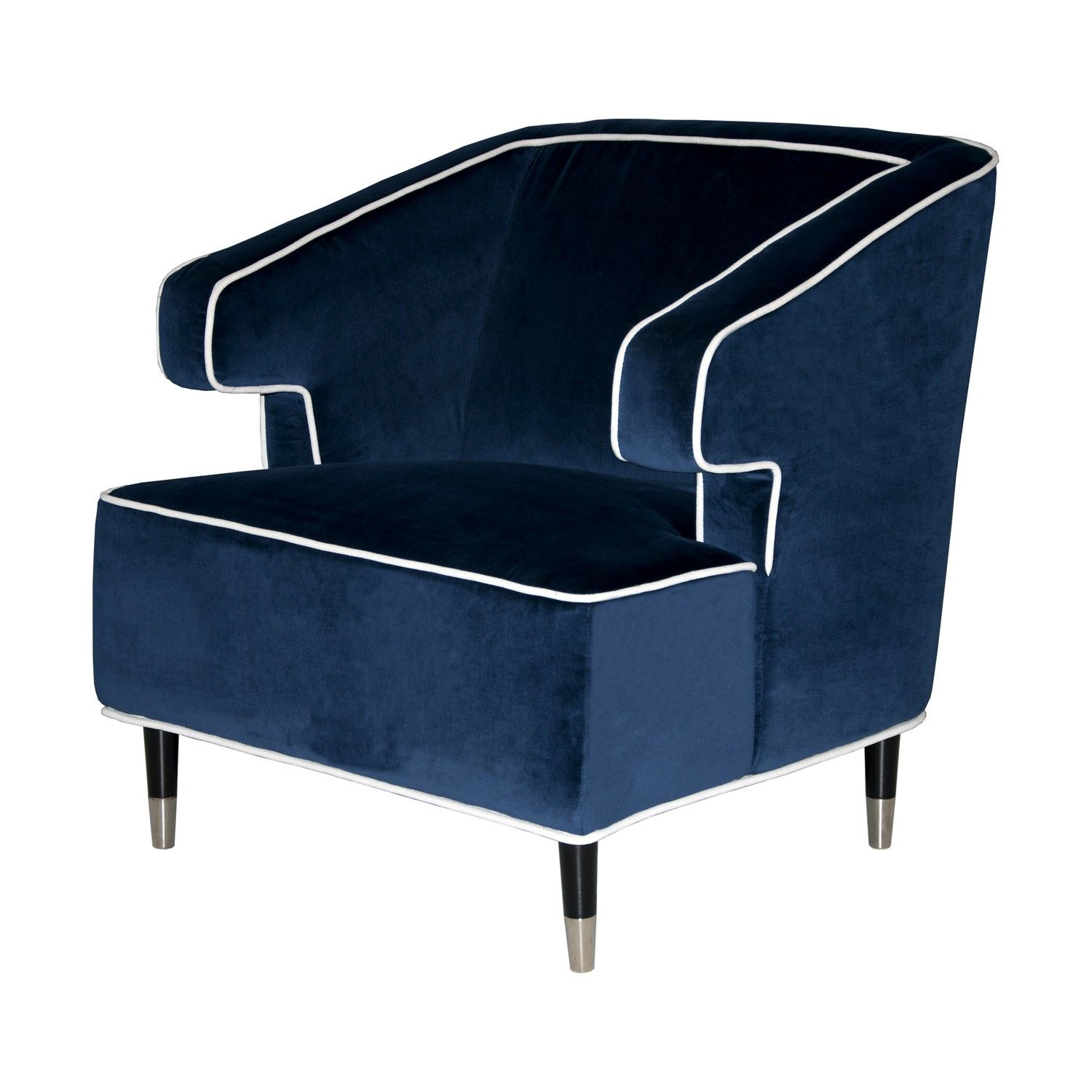 Velvet navy chair with piping, home, decor, chair, ottoman, navy ...
