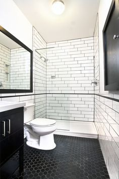 Black Tiles 2 In Same Layout With Glass Enclosure But Without Subway Tile White Bathroom Tiles Bathroom Interior Design Bathroom Design