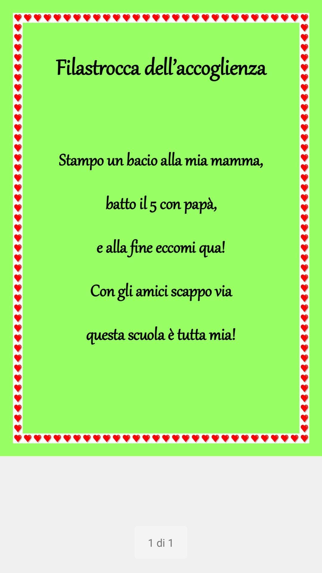 Filastrocca accoglienza scuola dell 39 infanzia saluti - Poesie primaverili per la scuola materna ...
