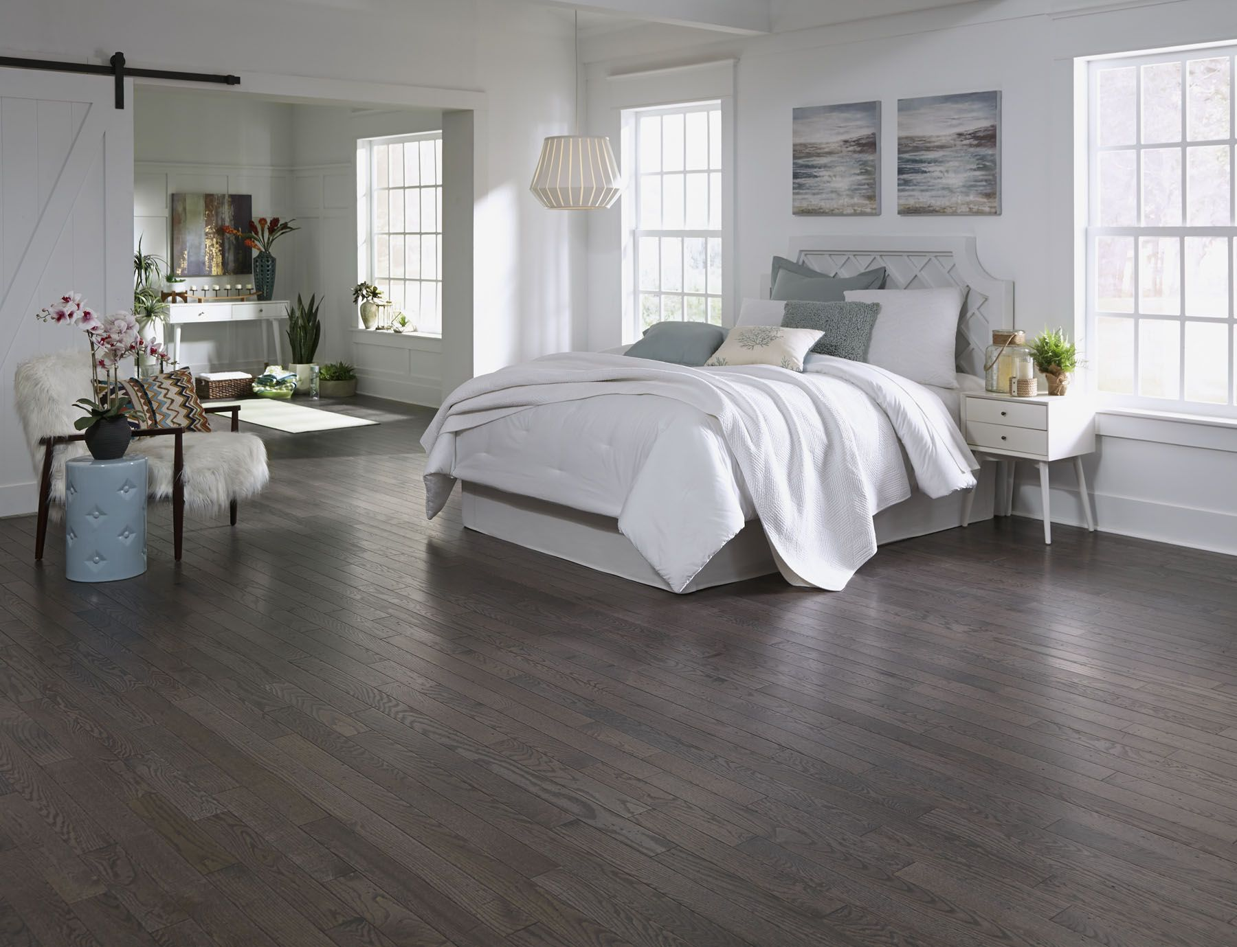 Virginia Mill Works Enchanted Forest Oak A Prefinished Distressed Solid Hardwood With A Gr Solid Hardwood Floors Hardwood Floors Dark Types Of Wood Flooring