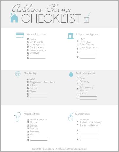 Free Address Change Checklist  Address Change Big Move And Free