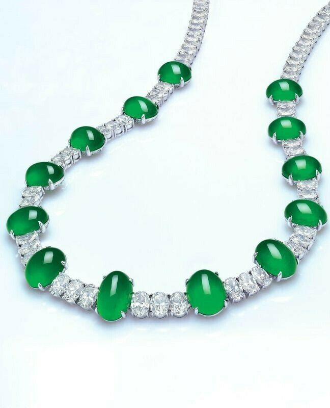 Green Cabochon 925 Sterling Silver White Oval Highend Party wear Necklace Women