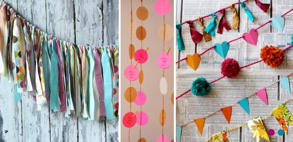 Haz tu propia decoraci n guirnaldas de tela amarrada de - Guirnaldas de tela ...