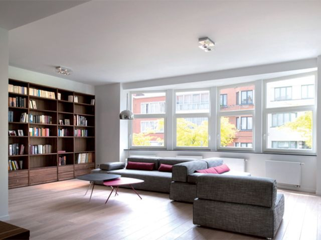 Woonkamer Met Bibliotheek : Renovatie u2022 woonkamer u2022 bibliotheek u2022 boekenrek u2022 parket u2022 trendy