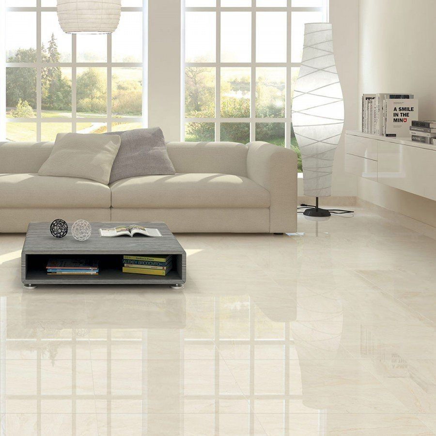 Cristallo Cream Polished Porcelain Tiles 800x800 Living Room