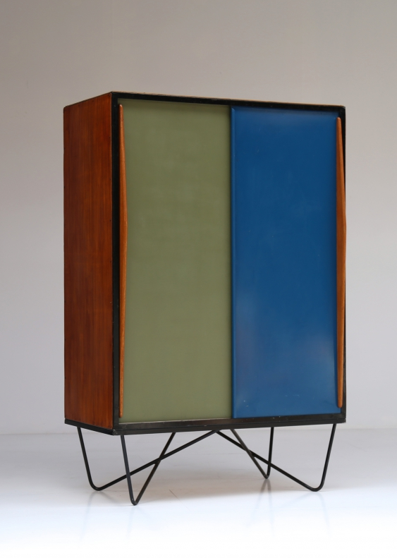Willy van der meeren wood lacquer and enameled metal for Mobilia anos 50
