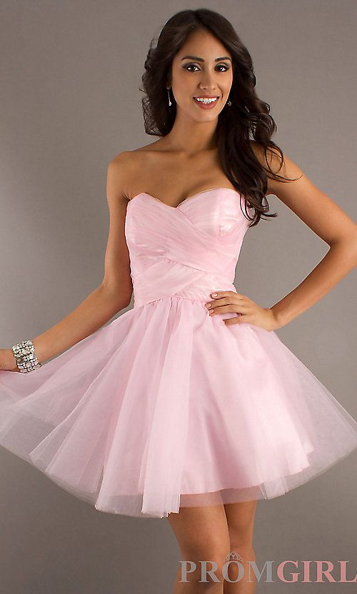 8667e0944820d Pretty in pink or red! Strapless Short Red Dress by LA Glo from  PromGirl.com