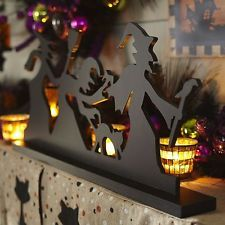 Spooky Witch Silhouette Tabletop Sculpture Halloween Home Decorations Decor Cat