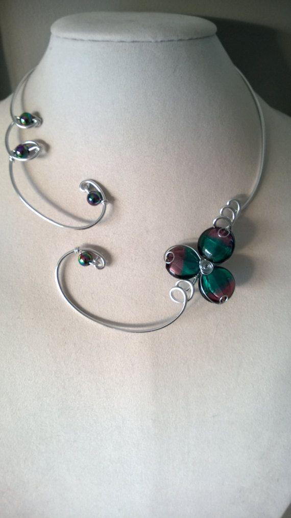 Open collar necklace modern jewelry design by LesBijouxLibellule