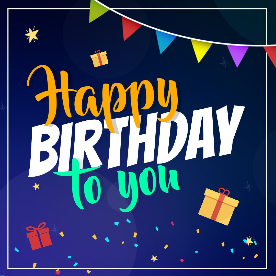 Happy birthday wish square image template dark blue