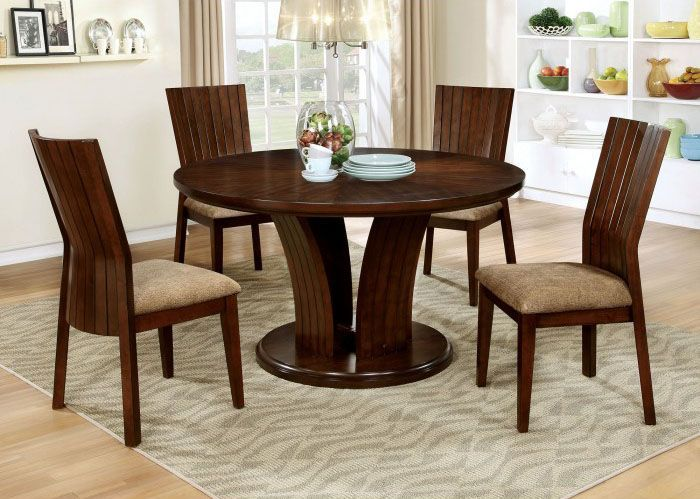 Furniture Of America Montreal I 5pc Dining Room Set In Walnut