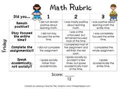 Sample Rubric For Math First Grade  Google Search  In Class