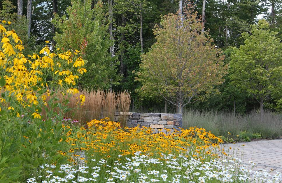 Blooming Perennial Garden with Stone WallPhoto By: 3SixtyA variety of perennials, flowering plants and ornamental grasses keep color in this outdoor space year-round. Planting trees just outside of the stone wall is a key element of this garden design.