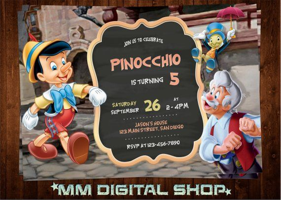 5x7 inches Disney. Pinocchio and Jiminy Cricket personalised birthday card