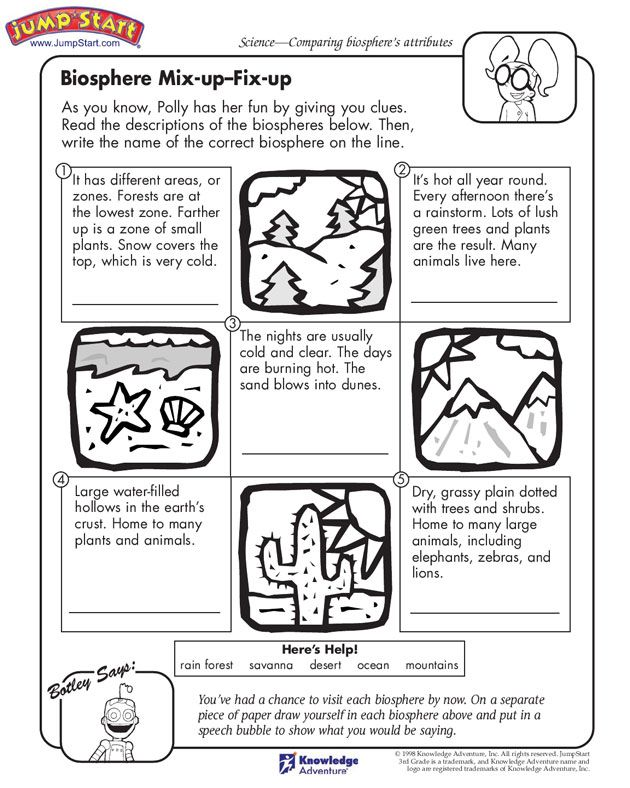 Biosphere Mix Up Fix Up 3rd Grade Science Worksheets Jumpstart