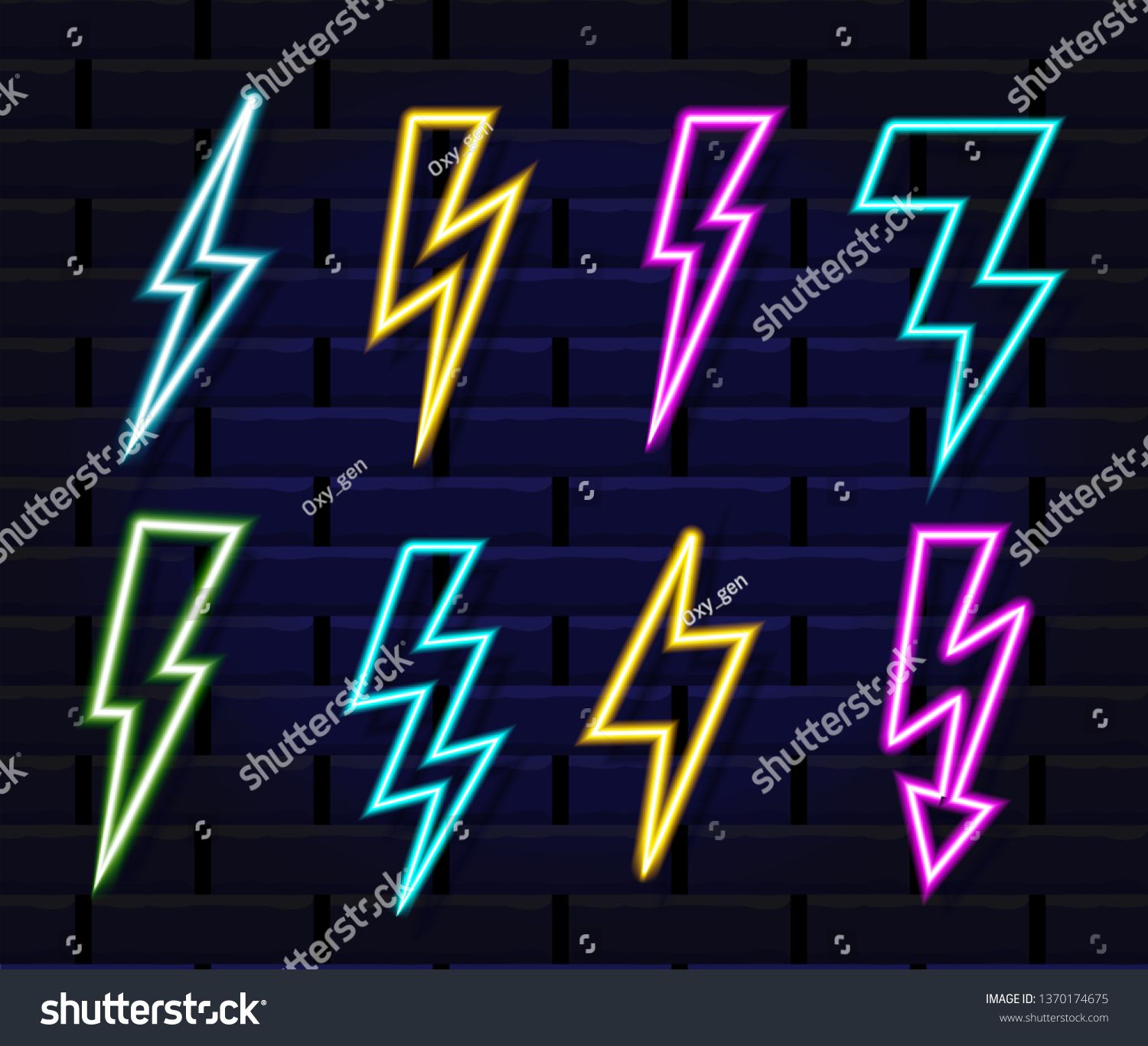 Neon Lightning Sign Glowing Electricity Power Symbol Electric Spark Vector Colored Lightning Set Isolat Unicorn Wallpaper Power Symbol Graphic Illustration