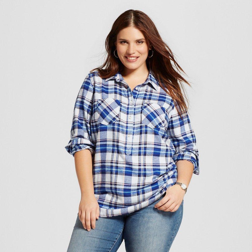 Women's Plus Size Plaid Flannel Popover Favorite Shirt Uniform Blue 2X - Merona