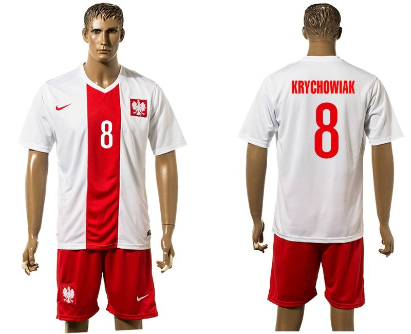 2016-2017 Euro Cup Poland #8 KRYCHOWIAK Home White Soccer Jersey