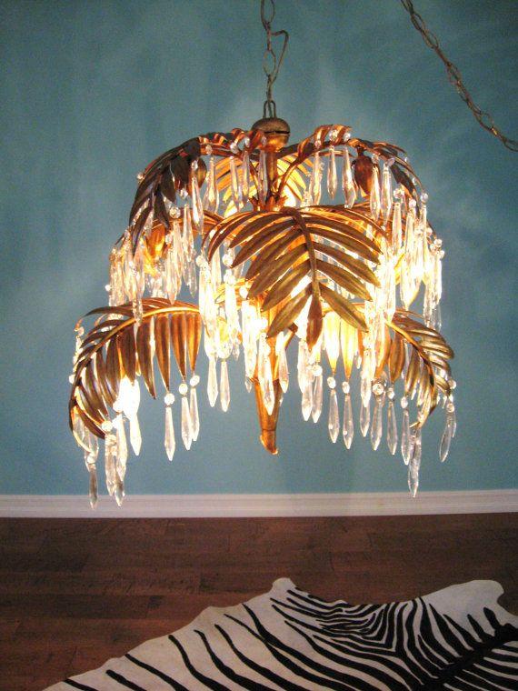 Vintage Hollywood Regency Gold Gilt Palm Leaf Crystal Chandelier