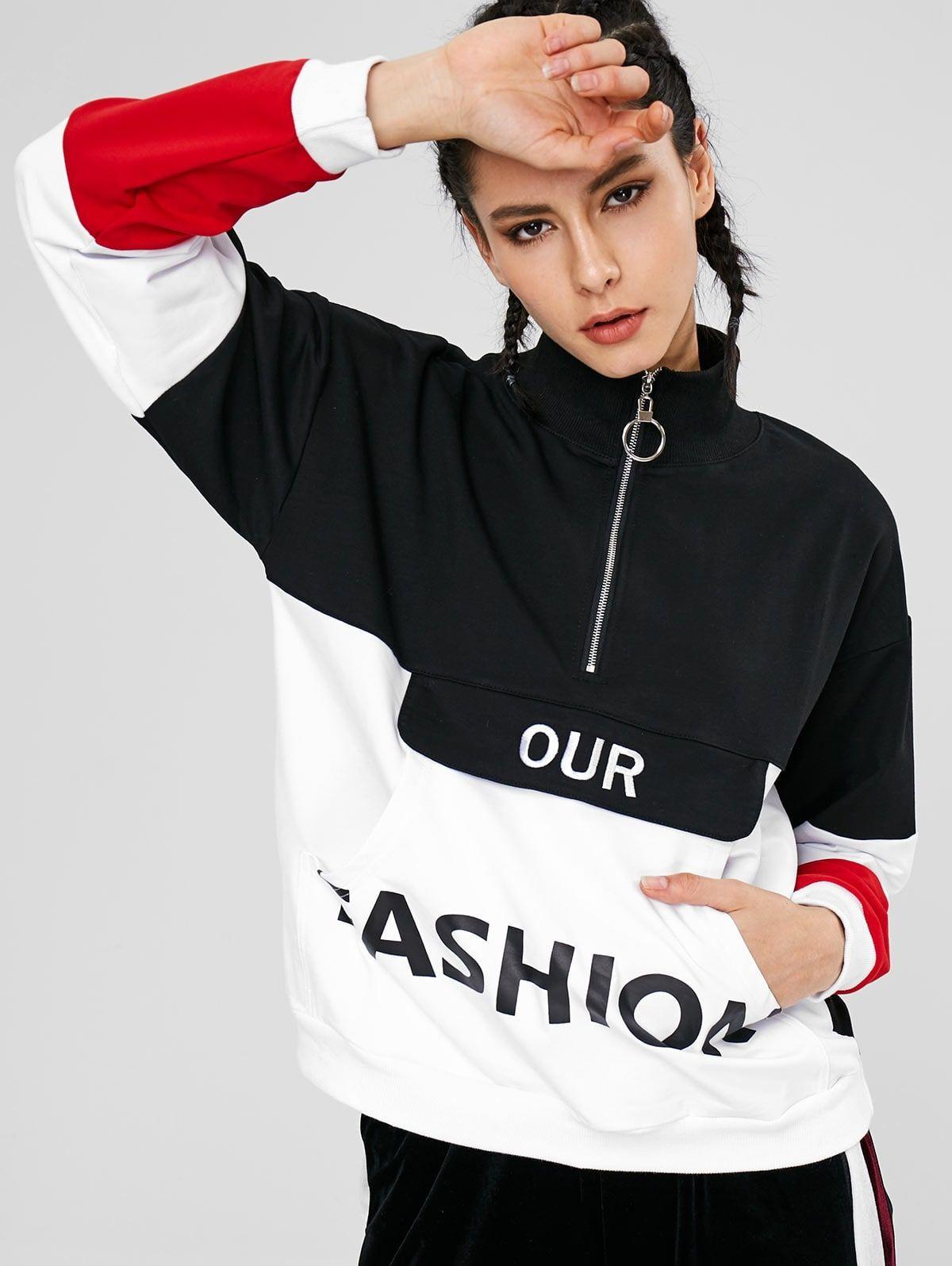 Color Block Pouch Graphic Sports Sweatshirt Black Affiliate Pouch Block Color Graphic Blac Sports Sweatshirts Sports Jackets Women Workout Hoodie [ 1596 x 1200 Pixel ]