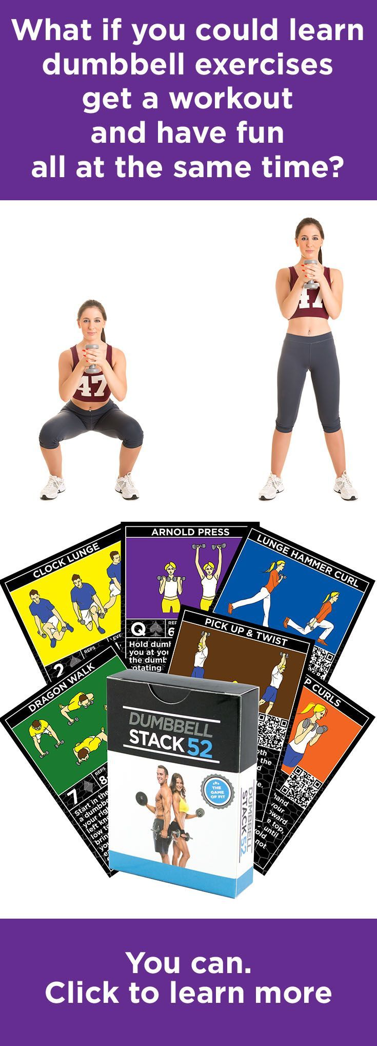 Dumbbell Exercise Cards #dumbbellexercises Visit stack52.com/dumbbell to learn more functional movement dumbbell exercises #dumbbellexercises