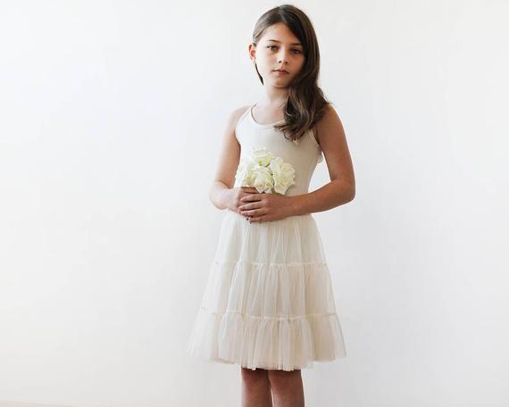 a00b6d6a8e77 Champagne tulle mini skirt, Girls short tutu #clothing #children #dress  @EtsyMktgTool #girlsskirts #girlsfancyskirts #girlsruffledskirt