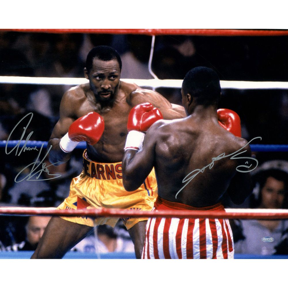 Steiner Thomas Hearns V Sugar Ray Leonard Dual Signed 16x20 Photo Professional Boxer Boxing Champions Combat Sport