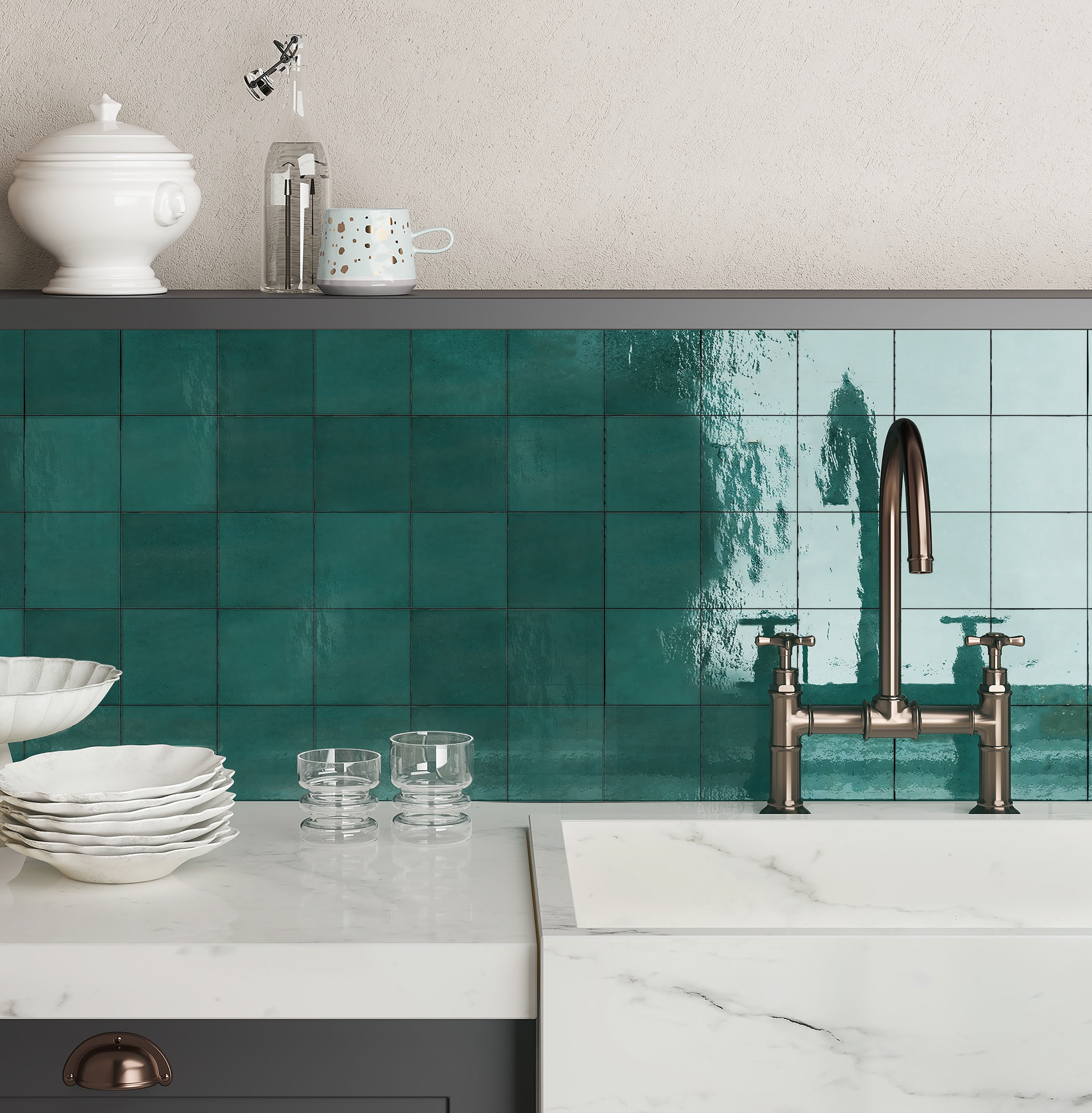 Casablanca Turquoise In 2021 Kitchen Wall Tiles Rustic Farmhouse Kitchen Moroccan Tiles Kitchen