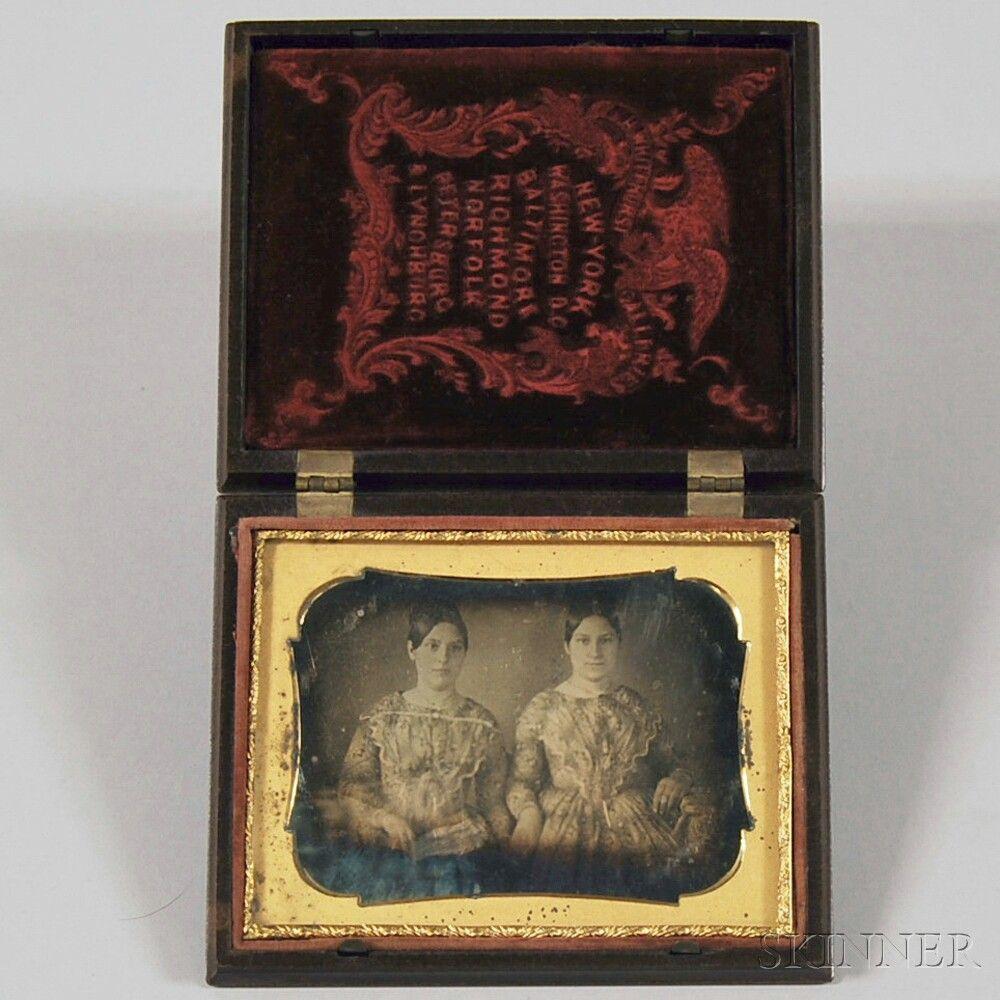 Quarter-plate Daguerreotype Portrait of Two Young Women