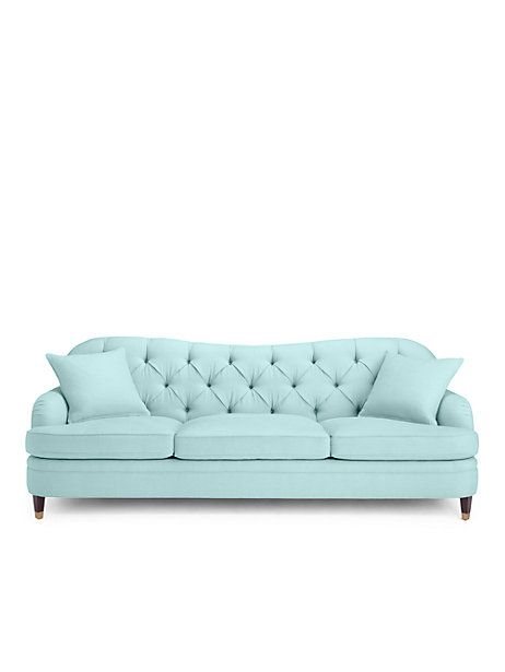 Drake Tufted Sofa Pale Aqua Large