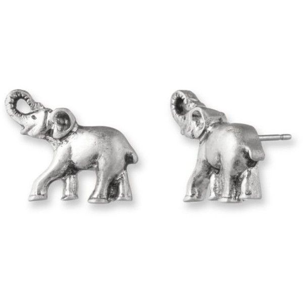 Lonna  Lilly Silver Silver-Tone Elephant Stud Earringsbr ($18) ❤ liked on Polyvore featuring jewelry, earrings, silver, elephant earrings, stud earrings, elephant jewelry, silver jewelry and silver tone jewelry