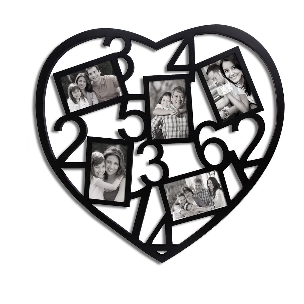 Adeco 5-Opening Black Wooden Heart Collage Photo Frame (5-Opening ...
