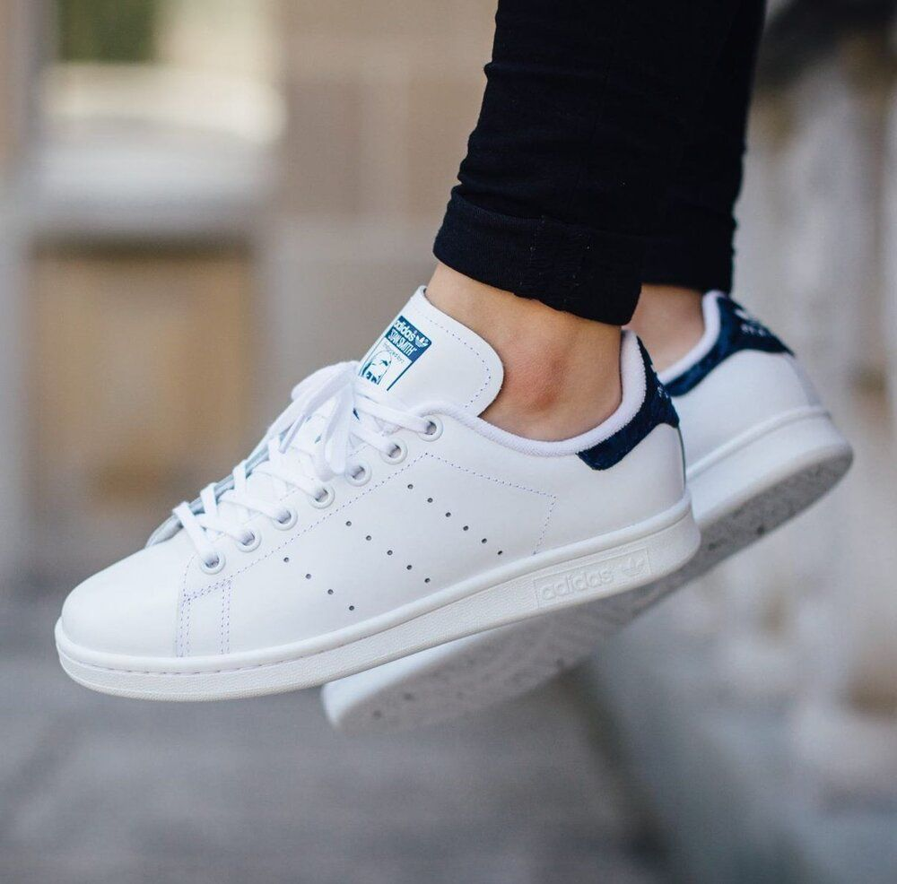 Womens adidas Stan Smith White Navy: Sale Price: $49.99 ...