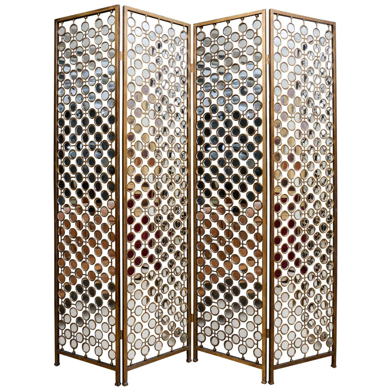 Mirrored And Metal Divider Screen 1stdibs Com Mirror Room Divider Mirror Wall Decor Mirror Design Wall Metal room divider screen