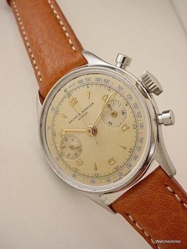 d04af597e56 Vintage-1950-039-s-Baume-amp-Mercier -Chronograph-Landeron-48-TRIPLE-SIGNED-Orig-Dial