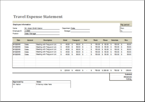 Travel Expense Report Template Download At HttpWwwTemplateinn