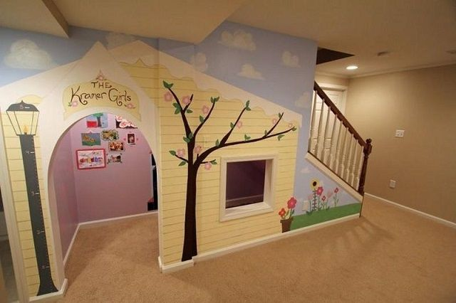 Kids Indoor Playhouse Under Stairs Home Design for Kids