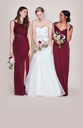 A Burgundy Wedding Is Perfect In The Fall Wear This Strapless Sweetheart Tulle Mermaid Dress Next To Your Lace Bridesmaids As You
