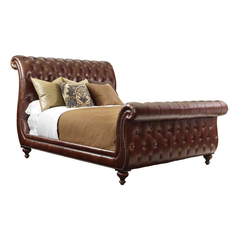 Leather Sleigh Bed For The Impressive Bedroom Leather Bedroom Henredon Furniture Horse Decor Bedroom Leather sleigh bed king