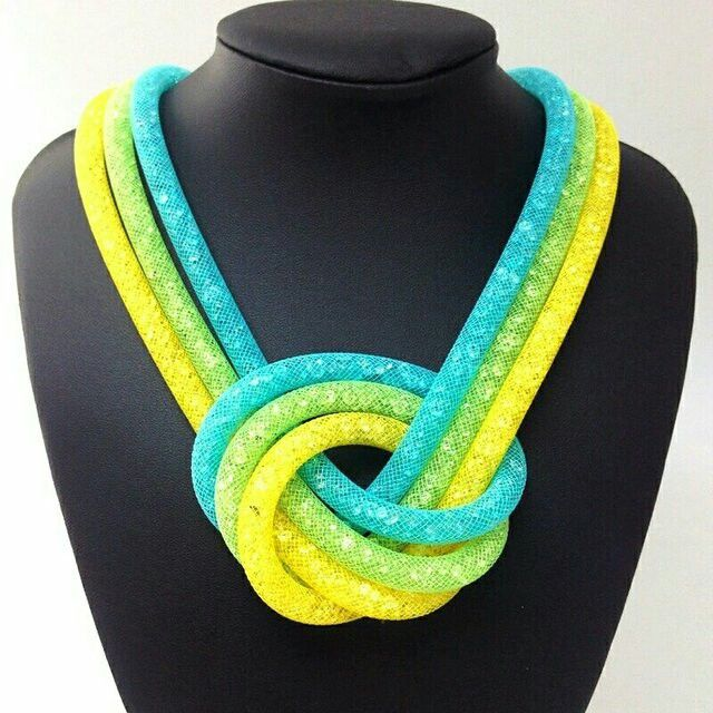 Stardust necklace 3 rows bright beautiful colours