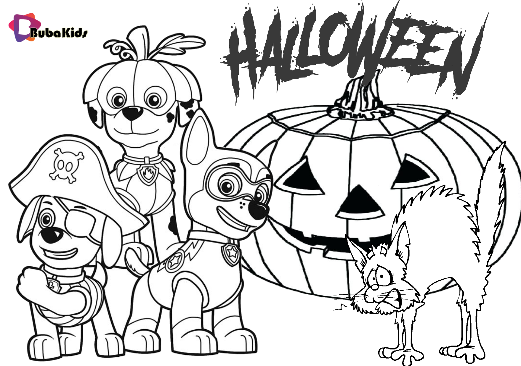 Paw Patrol Halloween Party 2019. Printable coloring page ...
